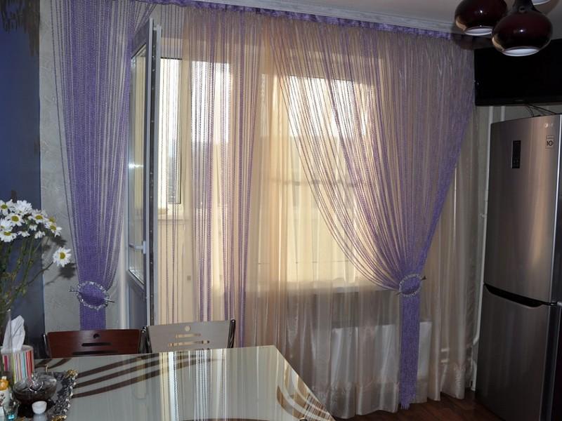 Шторы на окна с балконной дверью ниточные